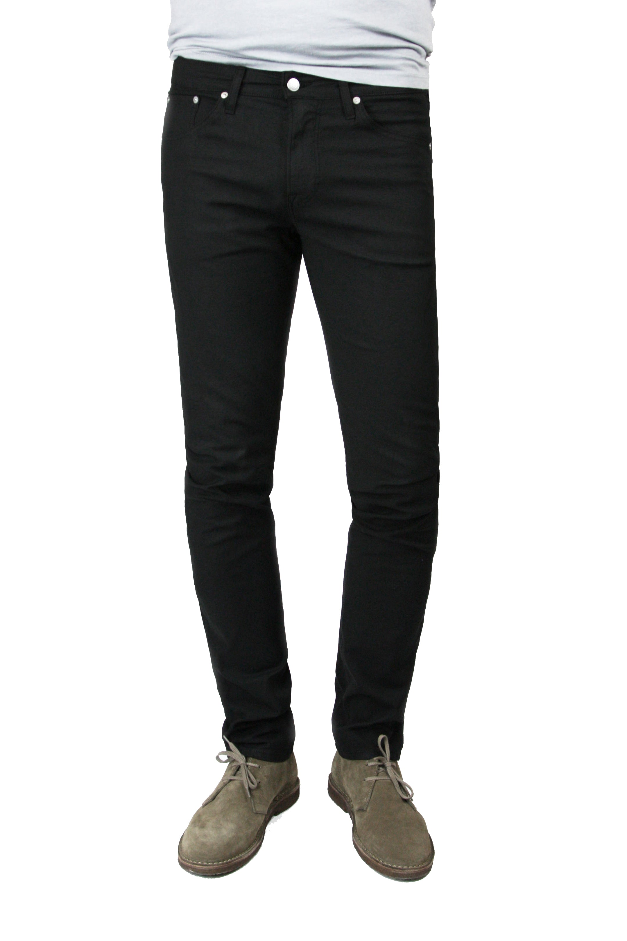"S.M.N Studio's Finn in Black Men's Twill pants in a 30"" Inseam. Tapered slim comfort stretch twill pants dyed in black"