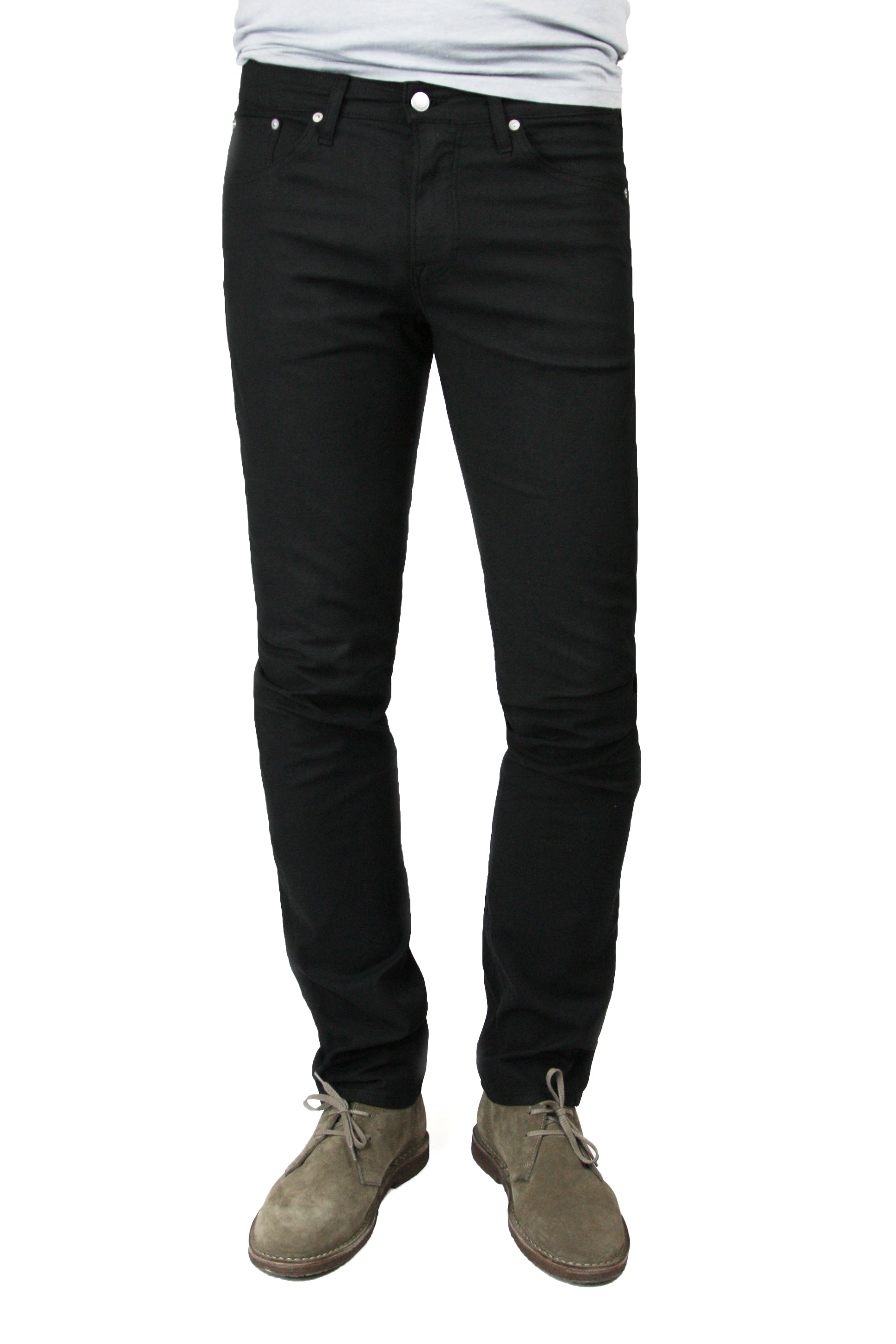 S.M.N Studio's Hunter in Black Men's Twill Pants - Slim comfort stretch twill pants dyed in black