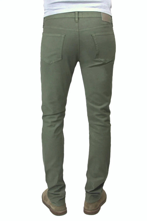 Back of S.M.N Studio's Hunter in Dark Moss Men's Twill Pants. A slim stretch comfort twill pant in a dark moss color