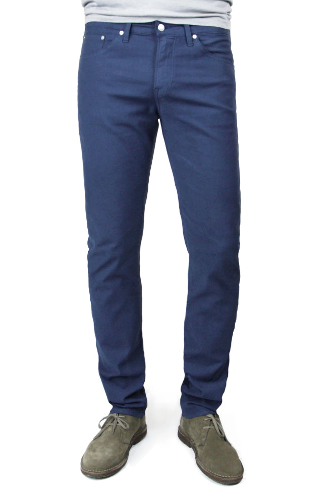 SMN Studio's Hunter in Royal Blue Men's Twill Jeans - Slim Royal blue comfort stretch twill pants