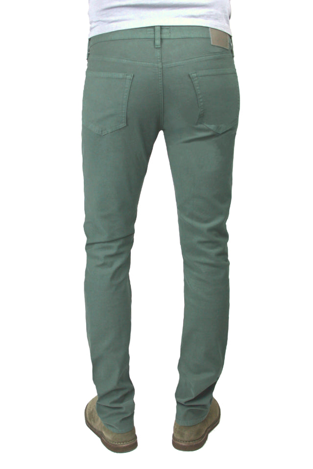 Back of S.M.N Studio's Hunter in Thyme Men's Twill Jeans. A slim comfort stretch twill pant in a muted green color