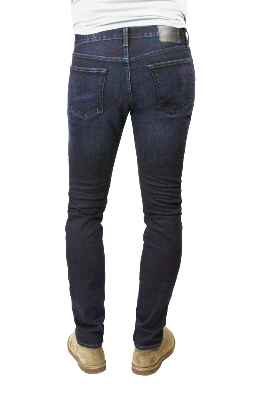 Back of S.M.N Studio's Hunter in Reid Men's Jeans - Slim dark indigo wash jean with slight contrast fading and whiskers