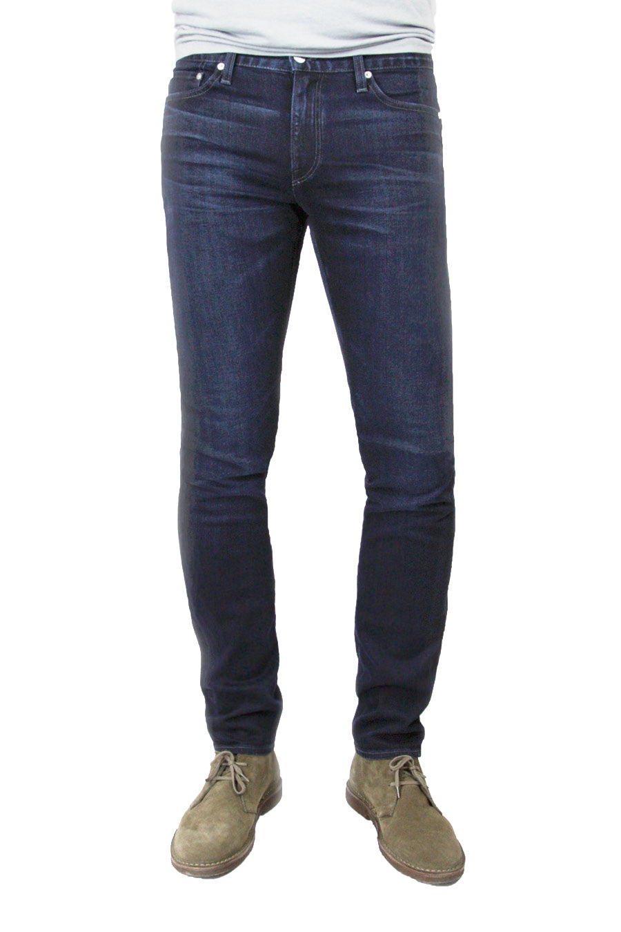 S.M.N Studio's Hunter in Reid Men's Jeans - Slim dark indigo wash jean with slight contrast fading and whiskers
