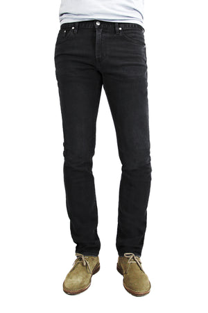 S.M.N Studio's Finn in Black Rock Men's Jeans - Tapered slim fit jean in a black comfort stretch premium Japanese denim