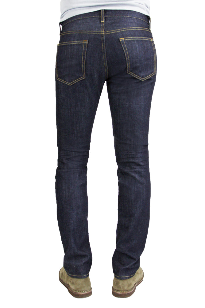 Back of S.M.N Studio's Hunter in Bravo Men's Jeans - Slim fit jeans made with a comfort stretch raw denim wash treatment