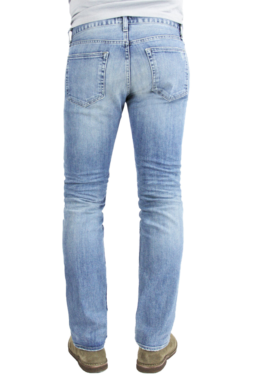 Back of S.M.N Studio's Hunter in Costello Men's Jeans - Slim fit light blue wash jean in comfort stretch denim
