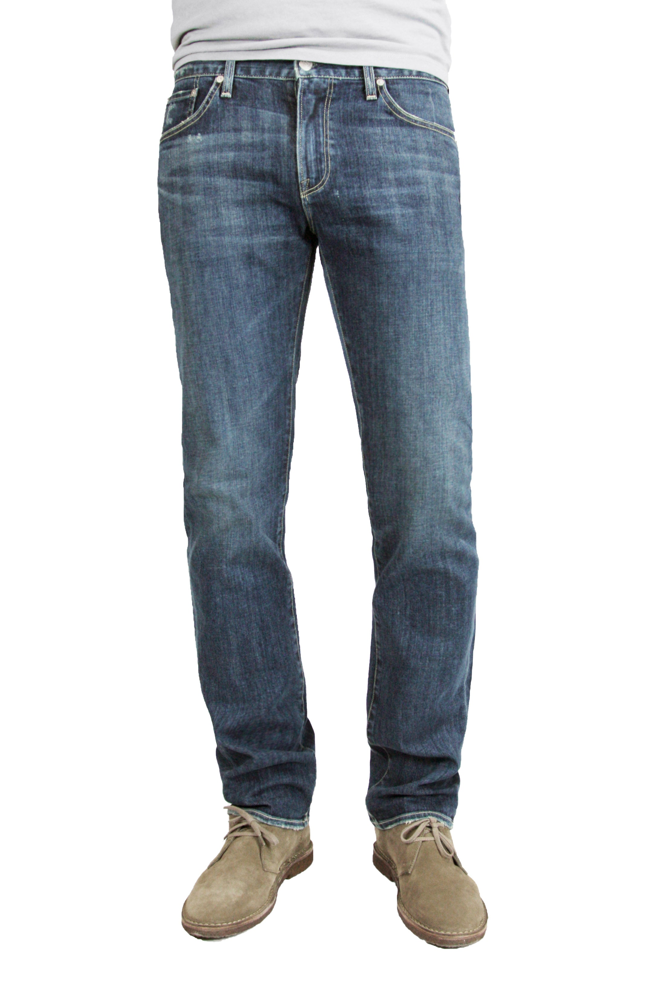 S.M.N Studio's Bond in Odyssey men's jeans. A slim straight jean made in comfortable stretch pure indigo dyed Japanese denim in a dark blue color with contrasting fades and whiskering for a vintage wash.
