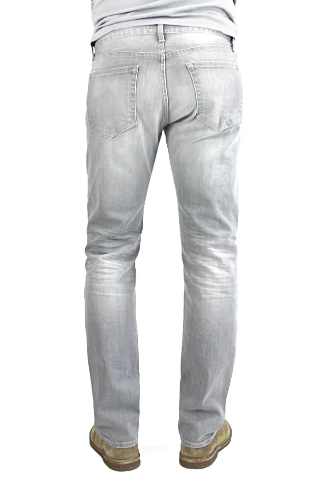 Back of S.M.N Studio's Bond in Owen Men's Jeans - Slim Straight comfort stretch Jean in a light grey wash denim