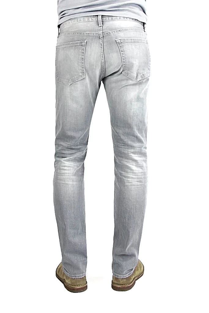 Back of S.M.N Studio's Hunter in Owen - Men's slim fit jeans made with a comfortable stretch and in a lighter grey wash also contrasted with fading, 3D whiskers, and honeycombs