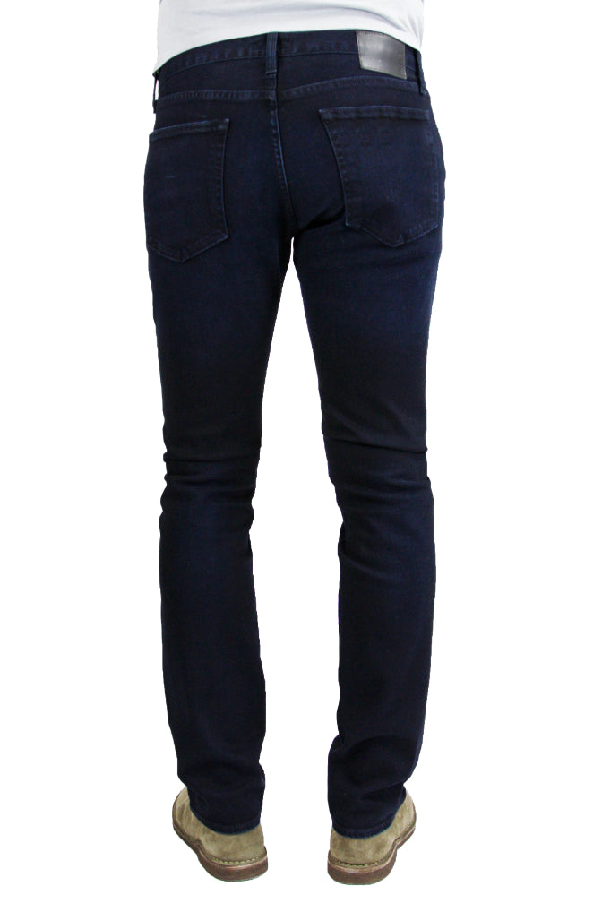 Back of S.M.N Studio Bond in Shadow - Mens slim straight fit jean in comfort stretch Japanese denim with deep indigo shade