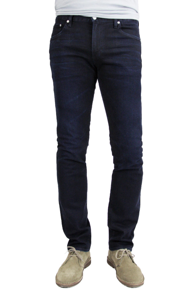 S.M.N Studio Bond in Shadow - Mens slim straight fit jean in comfort stretch Japanese denim with deep indigo shade