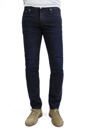 S.M.N Studio's Hunter in Shadow Men's Jeans - A slim fit dark indigo washed jean in a comfort stretch denim