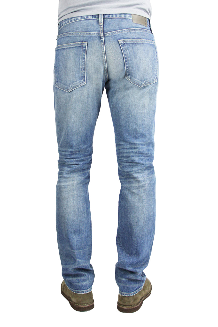 Back of S.M.N Studio's Bond in Western Men's Jeans - Slim Straight Comfort Stretch Denim in vintage light wash denim contrasted with light fading and whiskering
