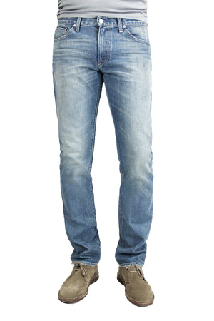 S.M.N Studio's Bond in Western Men's Jeans - Slim Straight Comfort Stretch Denim in vintage light wash denim contrasted with light fading and whiskering