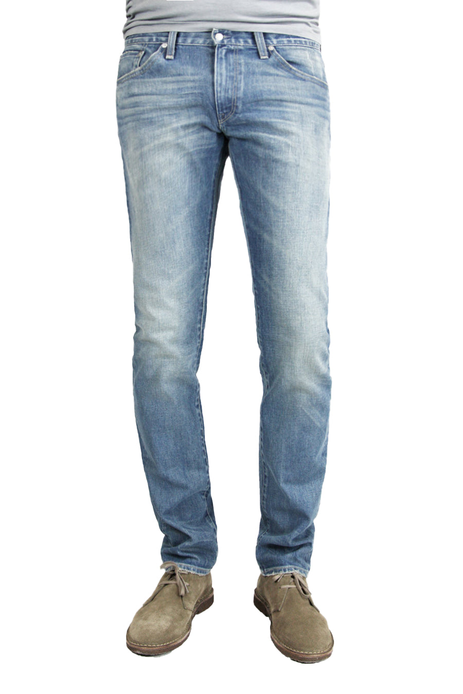 S.M.N Studio's Finn in Western Men's Jeans - Tapered Slim Comfort Stretch Denim in vintage light wash denim accented with fading and whiskering