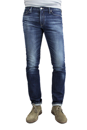 S.M.N Studio's Hunter in Matteo Men's Jeans - Slim fit stretch selvedge jean in a dark vintage wash with honeycombs, whiskering, and fading
