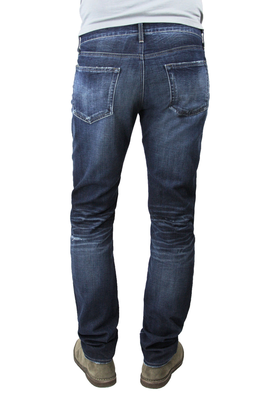 Back of S.M.N Studio's Bond in Anson Jeans - Men's slim straight dark indigo washed jeans with contrast fading and made in soft and lightweight comfort stretch sustainable Italian denim