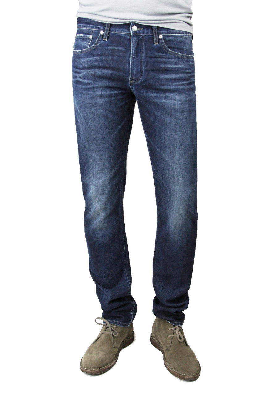 S.M.N Studio's Bond in Anson Jeans - Men's slim straight dark indigo washed jeans with contrast fading and made in soft and lightweight comfort stretch sustainable Italian denim