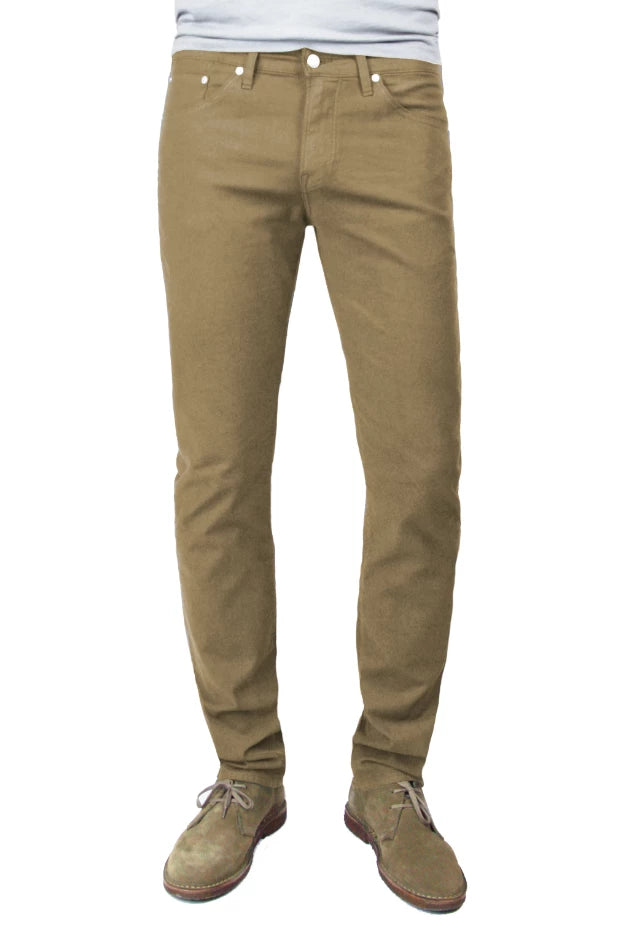 S.M.N Studio's Finn in Chestnut Men's Twill Jeans. A tapered slim pant made in a lightweight comfort stretch twill and dyed in a lighter brown chestnut color