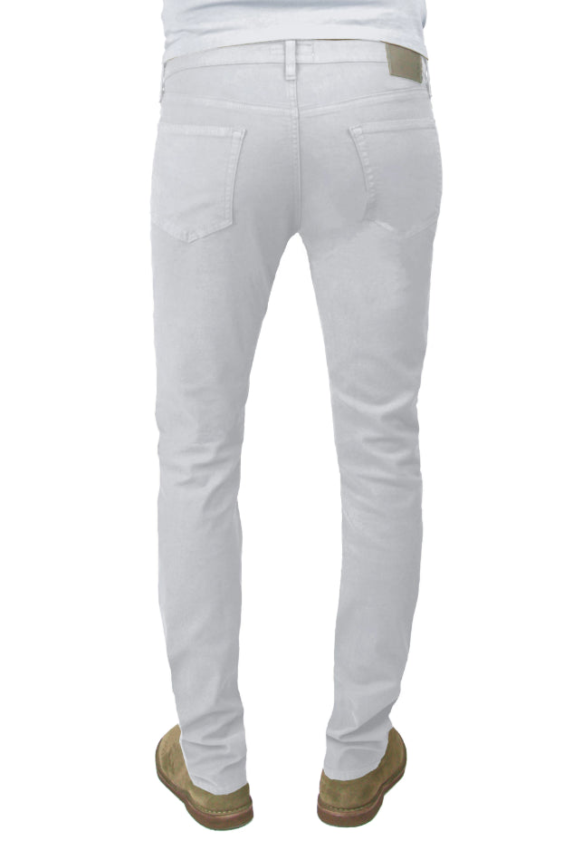 Back of S.M.N Studio's Finn in Light Gray Men's Jeans. A tapered slim stretch comfort twill pant in a light grey color