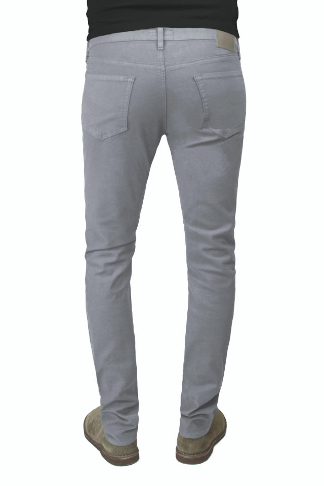 Back of S.M.N Studio's Finn in Moonstone Men's Twill Jeans - Tapered slim comfort stretch twill pants in a grey color