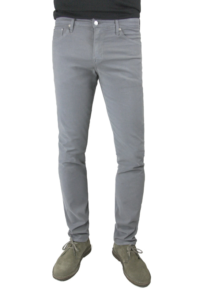 S.M.N Studio's Finn in Moonstone Men's Twill Jeans - Tapered slim comfort stretch twill pants in a grey color