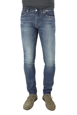 S.M.N Studio's Finn in Port Men's Jeans - Tapered Slim Dark vintage wash jeans in a comfort stretch Italian denim