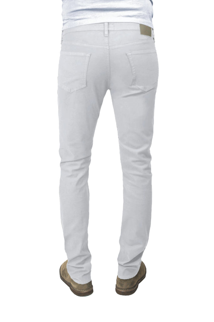 Back of S.M.N Studio's Hunter in Light Gray Men's Twill Pants. A slim stretch comfort twill pant in a light grey color