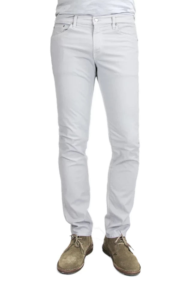 S.M.N Studio's Hunter in Light Gray Men's Twill pants. A standard slim stretch comfort twill pant in a light grey color