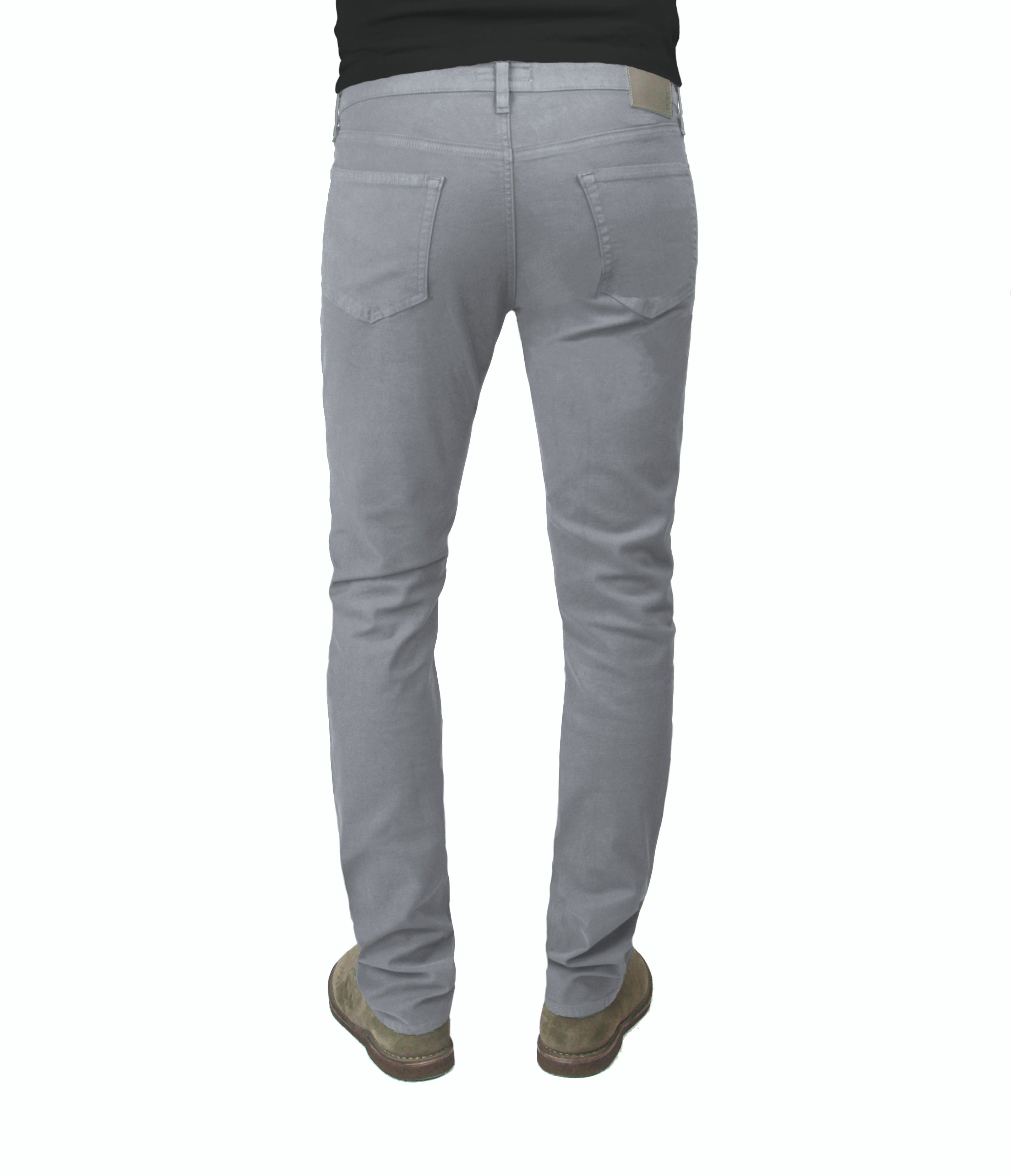 Back of S.M.N Studio's Hunter in Moonstone Men's Twill Pants - Slim comfort stretch twill pants in a grey color