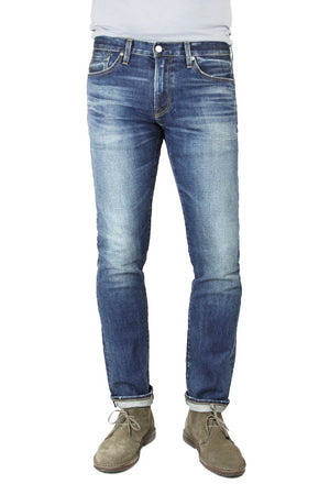 S.M.N Studio's Hunter in Rider Men's Jeans - Slim fit stretch selvedge denim highlighted by strong contrast fading