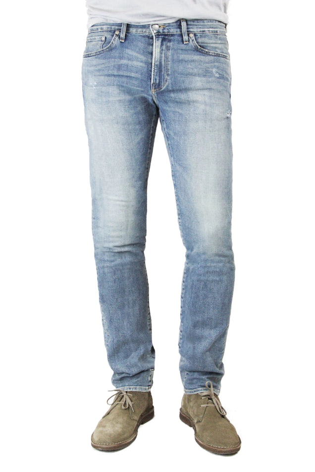 S.M.N Studios' Hunter in Sunset Men's Jeans. A slim fit denim made in a comfortable stretch fabric and a light vintage denim wash