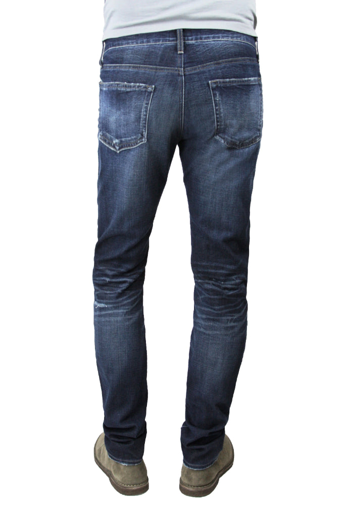 Back of S.M.N Studio's Hunter in Anson Men's Jeans - Slim fit Dark indigo wash with strong contrasting fades and 3D whiskering