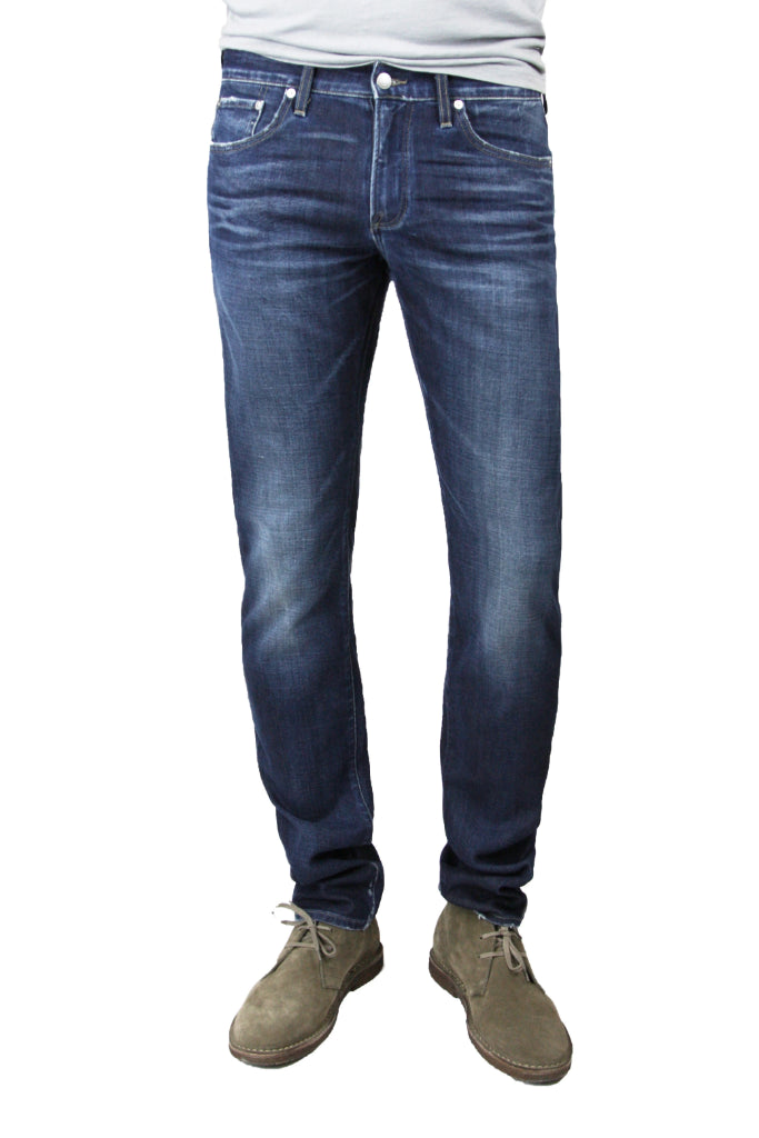 S.M.N Studio's Hunter in Anson Men's Jeans - Slim fit Dark indigo wash with strong contrasting fades and 3D whiskering