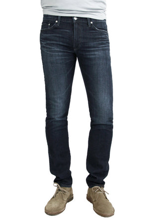 S.M.N Studio's Hunter in Cobalt Men's Jeans - Slim dark indigo wash jean contrasted with fading and 3D whiskering for a worn-in look and made in a comfort stretch denim