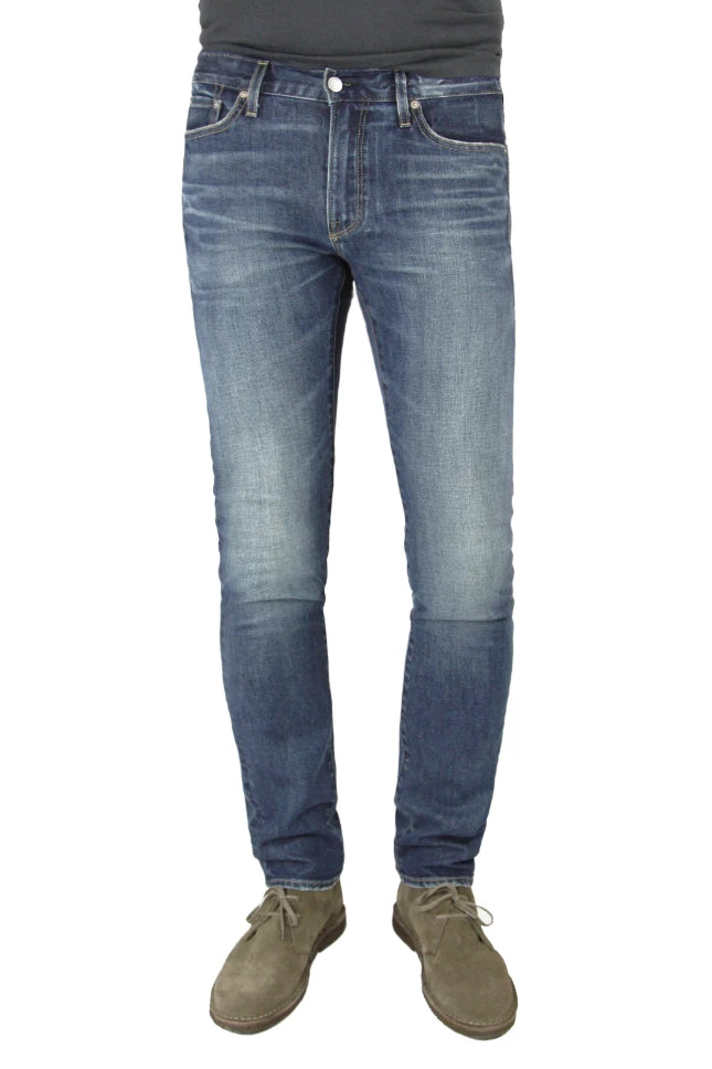 S.M.N Studio's Hunter in Port Men's Jeans - Slim fit jean in a rugged vintage dark denim wash accented with 3d whiskering