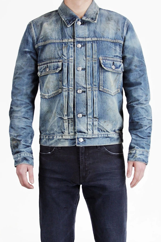 S.M.N Studio's Men's Trucker Jacket in Morrison - Vintage workwear inspired jean jacket made in pure 100% cotton selvedge and vintage look is complemented with fading and oil/dirt splatters