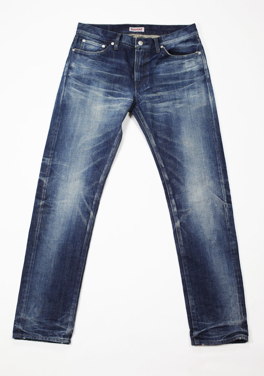 Flat image of S.M.N Studio's Mercer in Rockford Men's Jeans - Slim Fit Dark Indigo vintage wash inspired men's jeans made in 100% Japanese cotton selvedge denim and natural fading