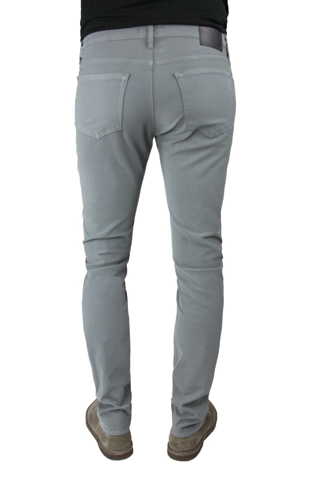 Back of S.M.N Studio's Hunter in Boulder Men's Twill Pants - Slim light grey comfort stretch twill pants