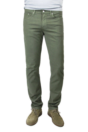 S.M.N Studio's Hunter in Dark Moss Men's Twill Pants. A slim stretch comfort twill pant in a dark moss color