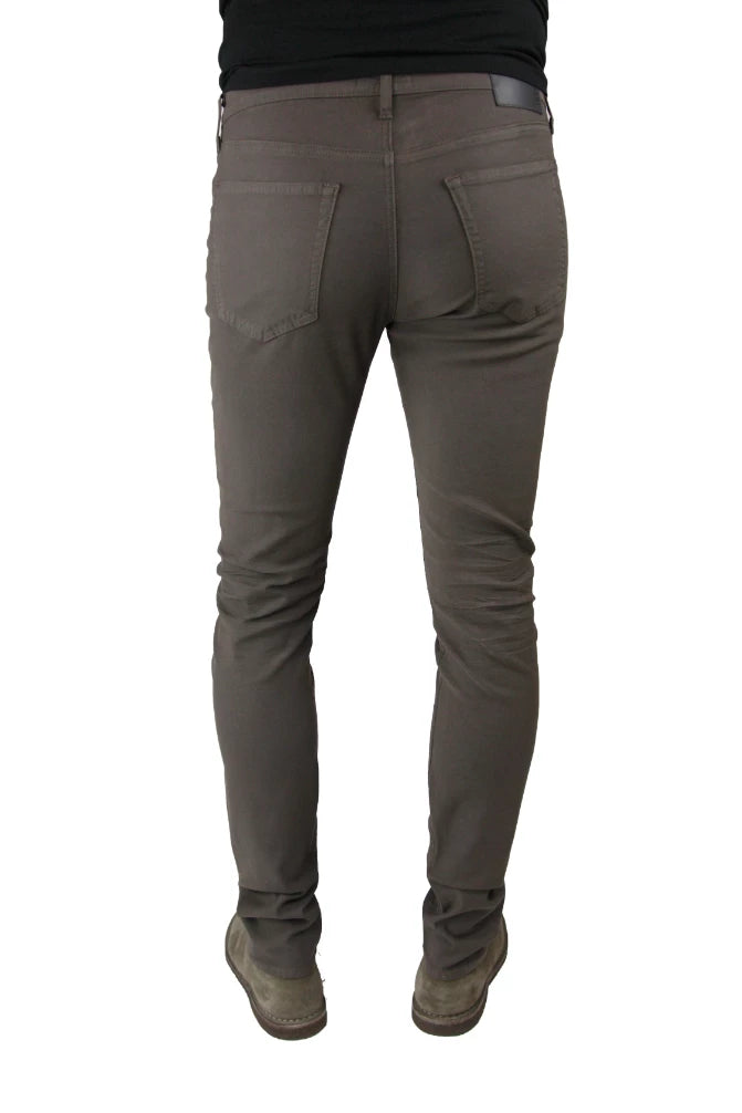 Back of S.M.N Studio's Hunter in Espresso Men's Twill Jeans - Slim comfort stretch twill pants in a dark brown coffee like color