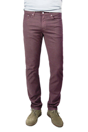 S.M.N Studio's Hunter in Maroon Men's Twill Pants - A slim fit comfort stretch twill pant in a darker maroon color