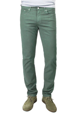 S.M.N Studio's Hunter in Thyme Men's Twill Jeans. A slim comfort stretch twill pant in a muted green color