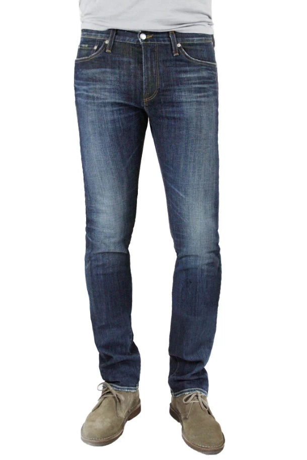 S.M.N Studio's Hunter in Bristol Men's Jeans - Slim fit dark denim wash finished with light contrast fading with 3d whiskering accents