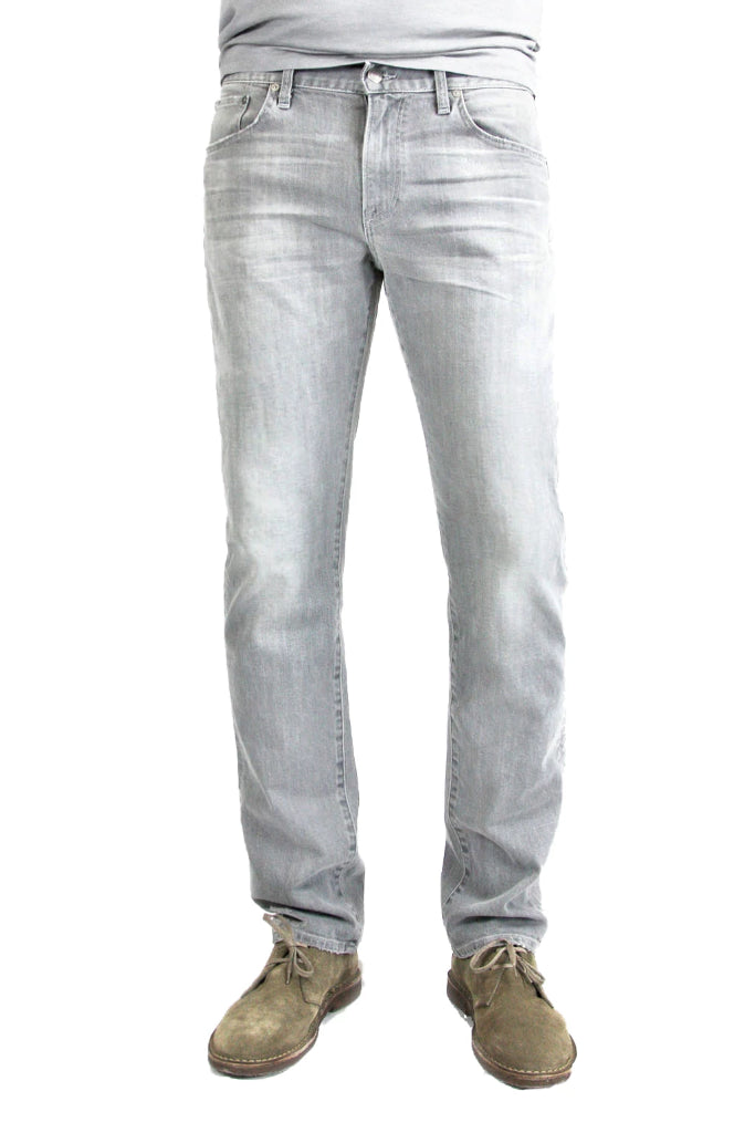 S.M.N Studio's Bond in Owen Men's Jeans - Slim Straight comfort Stretch Jean in a light grey wash denim