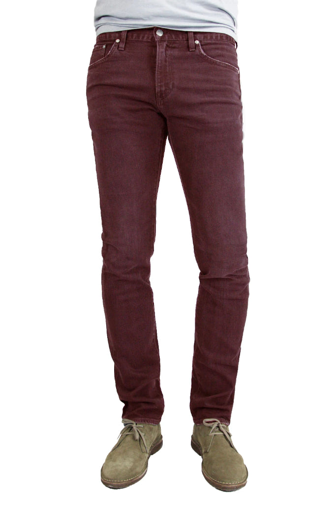 S.M.N Studio's Finn in Burgundy Men's Jeans - Tapered slim fit jean made in a premium comfort stretch Japanese denim and overdyed in a deep burgundy