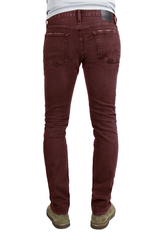 Back of S.M.N Studio's Finn in Burgundy Men's Jeans - Tapered slim fit jean made in a premium comfort stretch Japanese denim and overdyed in a deep burgundy