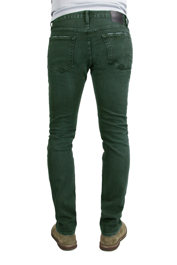Back of S.M.N Studio's Finn in Forest Men's Jeans - A tapered slim fit men's jean dyed in a forest green and made in premium stretch Japanese denim for slight contrast fades and whiskering for a lightly worn-in look