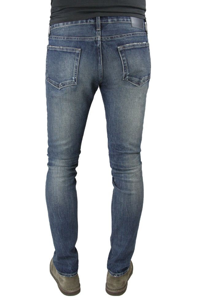 Back of S.M.N Studio's Finn in Wayne Men's Jeans - Tapered slim fit jean in cool ashy blue color with gray undertones in comfort stretch premium Italian denim