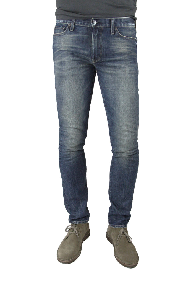 S.M.N Studio's Finn in Wayne Men's Jeans - Tapered slim fit jean in cool ashy blue color with gray undertones in comfort stretch premium Italian denim